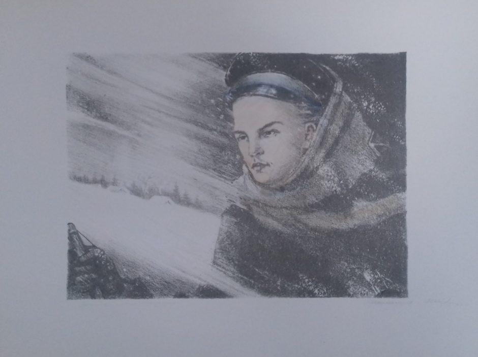 Автолитография. Мавровская М.К. «На морозной прогулке»