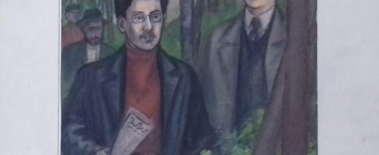 Рисунок. Рахимов М.З. «Революционеры Хусаин Ямашев и Яков Свердлов» (к роману Атиллы Расиха «Ямашев»)